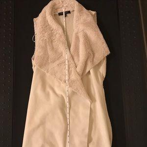 Romeo and Juliet faux fur long cream vest